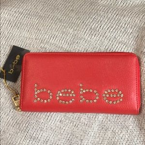 ❤️NWT BEBE Red Orange Wallet Credit Card Holder ❤️